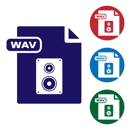 Blue WAV file document. Download wav button icon isolated on white background. WAV waveform audio file format for digital audio riff files. Set color icons in circle buttons. Vector Illustration
