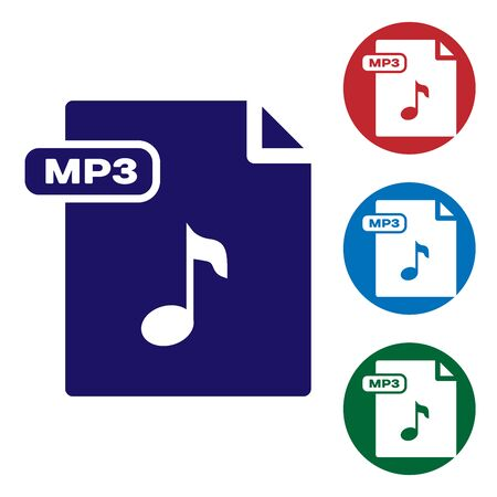 Blue MP3 file document. Download mp3 button icon isolated on white background. Mp3 music format sign. MP3 file symbol. Set color icons in circle buttons. Vector Illustration