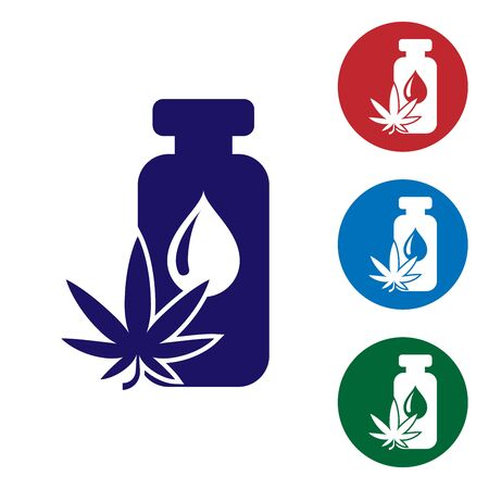 Blue Medical marijuana or cannabis leaf olive oil drop icon isolated on white background. Cannabis extract. Hemp symbol. Set color icons in circle buttons. Vector Illustration 矢量图像