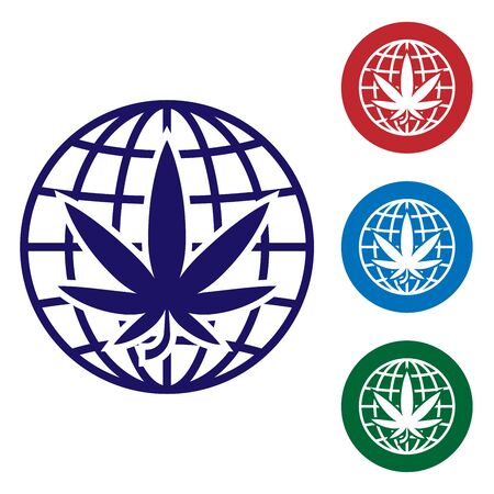 Blue Legalize marijuana or cannabis globe symbol icon isolated on white background. Hemp symbol. Set color icons in circle buttons. Vector Illustration