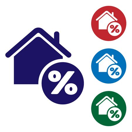 Blue House with percant discount tag icon isolated on white background. House percentage sign price. Real estate home. Credit percentage symbol. Set color icons in circle buttons. Vector Illustration