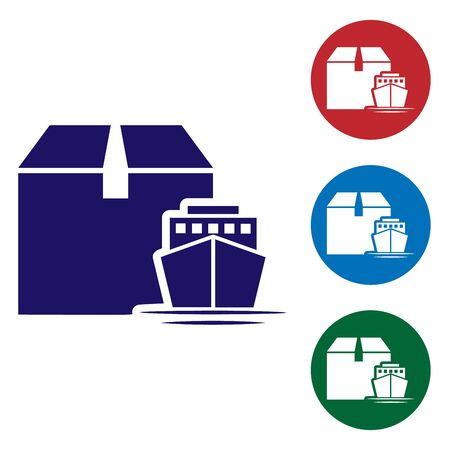 Blue Cargo ship with boxes delivery service icon isolated on white background. Delivery, transportation. Freighter with parcels, boxes, goods. Set color icons in circle buttons. Vector Illustration