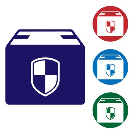 Blue Delivery pack security symbol with shield icon isolated on white background. Delivery insurance. Insured cardboard boxes beyond the shield. Set color icons in circle buttons. Vector Illustration Vectores