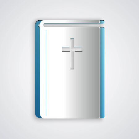 Paper cut Holy bible book icon isolated on grey background. Paper art style. Vector Illustration