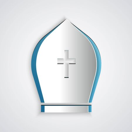 Paper cut Pope hat icon isolated on grey background. Christian hat sign. Paper art style. Vector Illustration Vettoriali