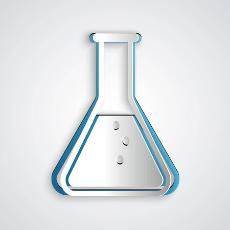 Paper cut Test tube and flask - chemical laboratory test icon isolated on grey background. Paper art style. Vector Illustration