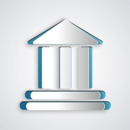Paper cut Bank building icon isolated on grey background. Paper art style. Vector Illustration Vector Illustratie
