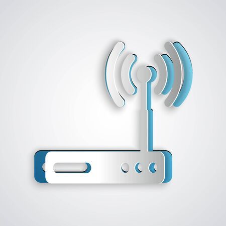 Paper cut Router and wifi signal symbol icon isolated on grey background.