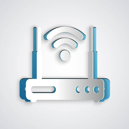 Paper cut Router and wifi signal symbol icon isolated on grey background. Wireless ethernet modem router. Computer technology internet. Paper art style. Vector Illustration