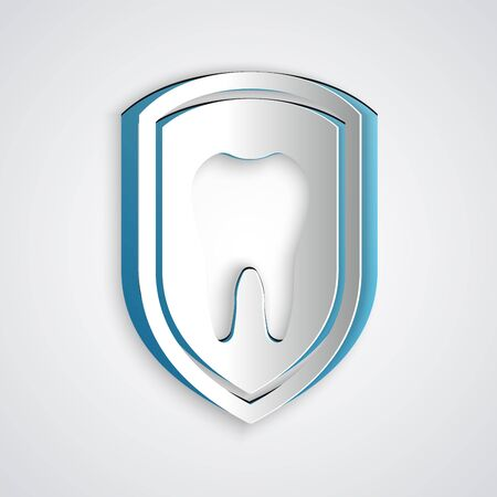 Paper cut Dental protection icon isolated on grey background. Tooth on shield logo icon. Paper art style. Vector Illustration