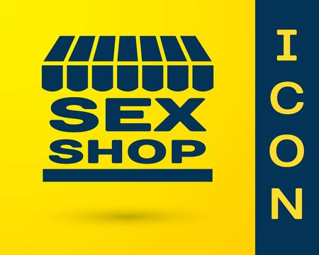 Blue Sex shop building with striped awning icon isolated on yellow background. Sex shop, online sex store, adult erotic products concept. Vector Illustration