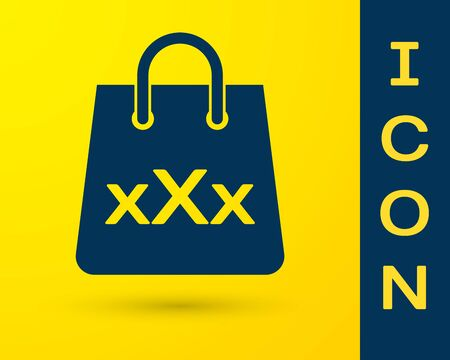 Blue Shopping bag with a triple X icon isolated on yellow background. Vector Illustration