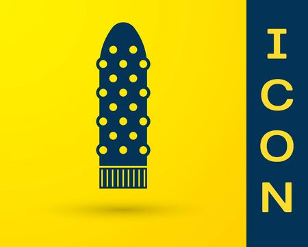 Blue Dildo vibrator for sex games icon isolated on yellow background. Sex toy for adult. Vaginal exercise machines for intimate. Vector Illustration Illustration