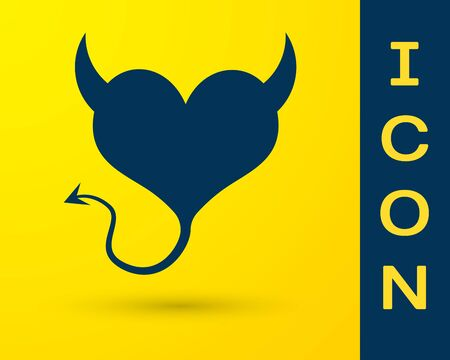 Blue Devil heart with horns and a tail icon isolated on yellow background. Valentines Day symbol. Vector Illustration Ilustração
