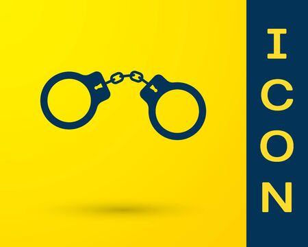 Blue Handcuffs icon isolated on yellow background. Vector Illustration