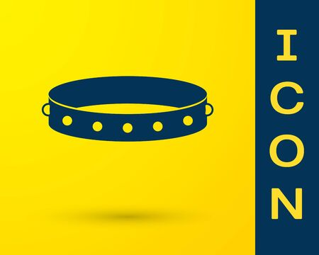 Blue Leather fetish collar with metal spikes on surface icon isolated on yellow background. Fetish accessory. Sex toy for men and woman. Vector Illustration