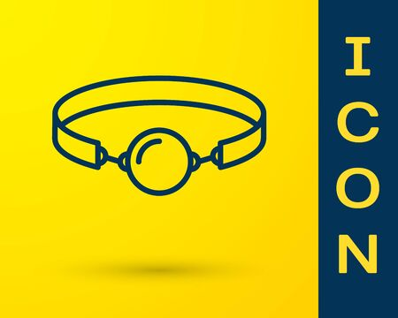 Blue Silicone ball gag with a leather belt icon isolated on yellow background. Fetish accessory. Sex toy for men and woman. Vector Illustration Archivio Fotografico - 128155942