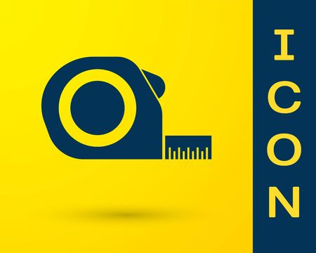 Blue Roulette construction icon isolated on yellow background. Tape measure symbol. Vector Illustration