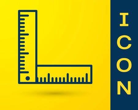 Blaues Faltlineal-Symbol auf gelbem Hintergrund isoliert. Vektorillustration