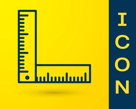 Blue Folding ruler icon isolated on yellow background. Vector Illustration