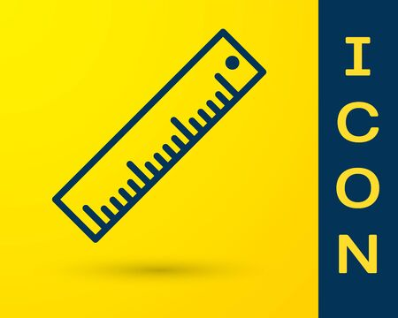 Blue Ruler icon isolated on yellow background. Straightedge symbol. Vector Illustration Ilustração
