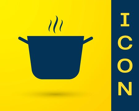 Blue Cooking pot icon isolated on yellow background. Boil or stew food symbol. Vector Illustration Illustration