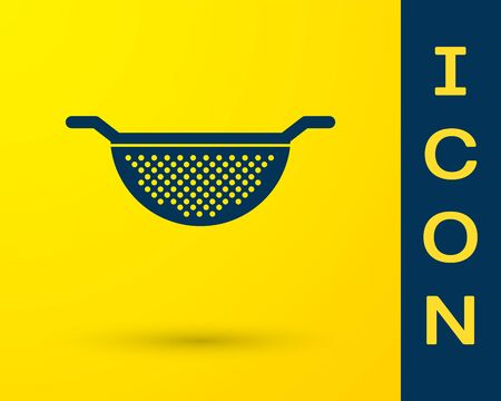 Blue Kitchen colander icon isolated on yellow background. Cooking utensil. Cutlery sign. Vector Illustration