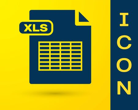 Blue XLS file document. Download xls button icon isolated on yellow background. Excel file symbol. Vector Illustration Illustration