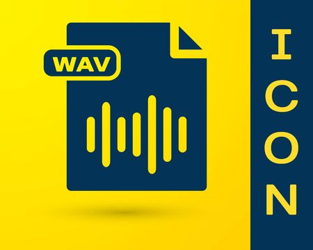 Blue WAV file document. Download wav button icon isolated on yellow background. WAV waveform audio file format for digital audio riff files. Vector Illustration