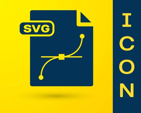 Blue SVG file document. Download svg button icon isolated on yellow background. SVG file symbol. Vector Illustration