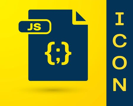 Blue JS file document. Download js button icon isolated on yellow background. JS file symbol. Vector Illustration  イラスト・ベクター素材