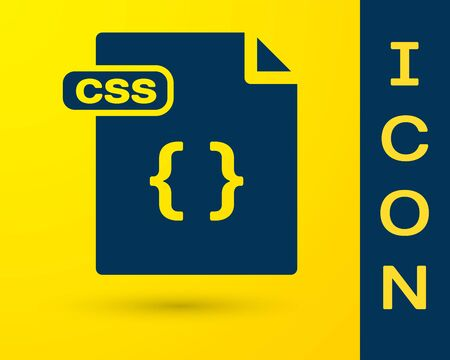 Blue CSS file document. Download css button icon isolated on yellow background. CSS file symbol. Vector Illustration