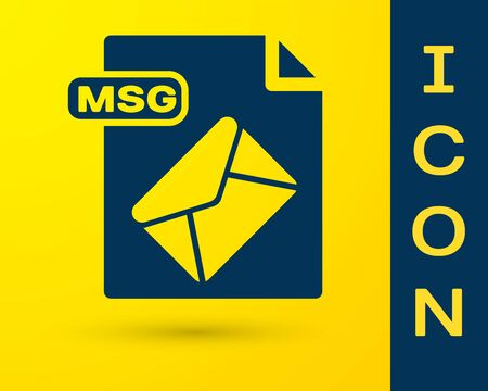 Blue MSG file document. Download msg button icon isolated on yellow background. MSG file symbol. Vector Illustration