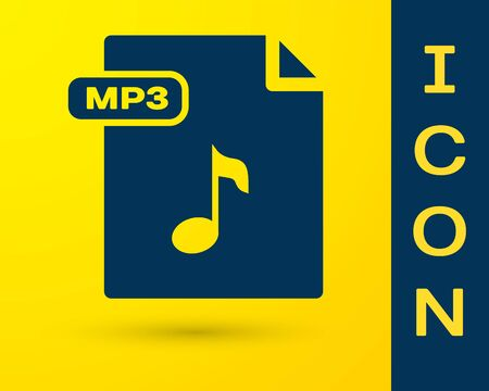 Blue MP3 file document  Download mp3 button icon isolated on