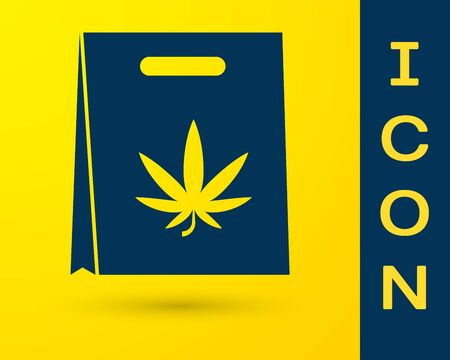 Blue Shopping paper bag of medical marijuana or cannabis leaf icon isolated on yellow background. Buying cannabis. Hemp symbol. Vector Illustration