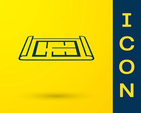 Blaues Haus-Plan-Symbol auf gelbem Hintergrund isoliert. Vektorillustration