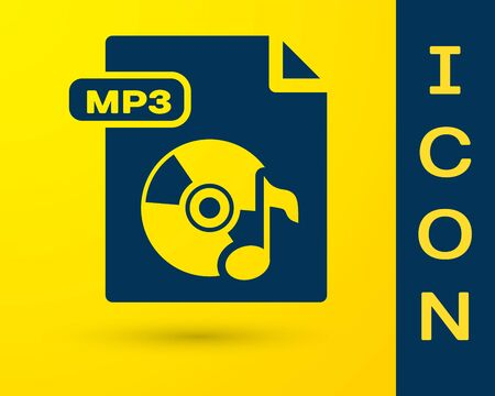 Blue MP3 file document. Download mp3 button icon isolated on yellow background. Mp3 music format sign. MP3 file symbol.  Vector Illustration