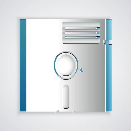 Paper cut Floppy disk in the 5.25-inch icon isolated on grey background. Floppy disk for computer data storage. Diskette sign. Paper art style. Vector Illustration 向量圖像