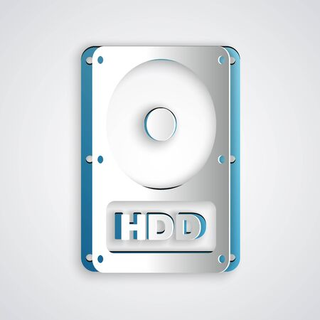 Paper cut Hard disk drive HDD icon isolated on grey background. Paper art style. Vector Illustration
