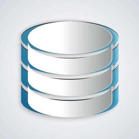 Icône de base de données coupée en papier isolé sur fond gris. Bases de données réseau, disque avec barre de progression. Notion de sauvegarde. Style d'art du papier. Illustration vectorielle