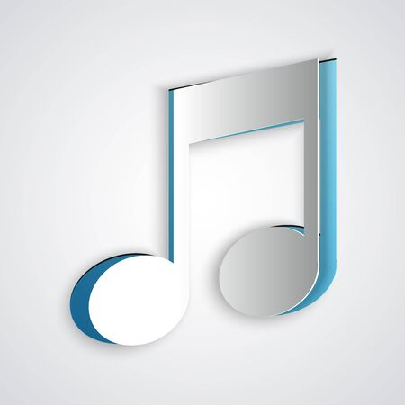 Paper cut Music note, tone icon isolated on grey background. Paper art style. Vector Illustration