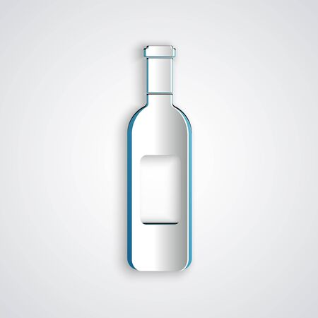 Paper cut Bottle of wine icon isolated on grey background. Paper art style. Vector Illustration