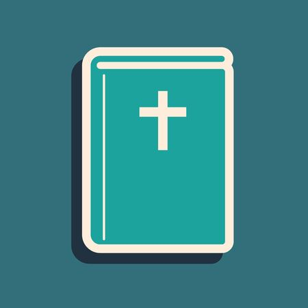 Green Holy bible book icon isolated on blue background. Long shadow style. Vector Illustration