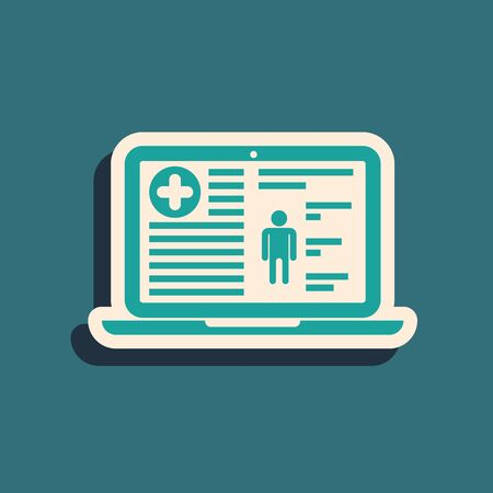 Green Medical clinical record on laptop icon isolated on blue background. Health insurance form. Prescription, medical check marks report. Long shadow style. Vector Illustration Ilustração Vetorial