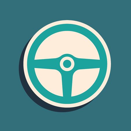 Green Steering wheel icon isolated on blue background. Car wheel icon. Long shadow style. Vector Illustration