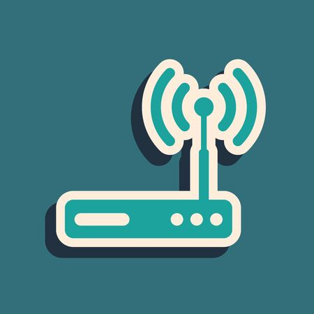 Green Router and wi-fi signal symbol icon isolated on blue background. Wireless ethernet modem router. Computer technology internet. Long shadow style. Vector Illustration 写真素材 - 128231722