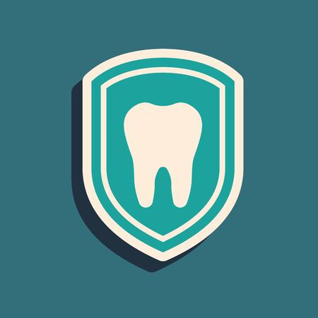 Green Dental protection icon isolated on blue background. Tooth on shield logo icon. Long shadow style. Vector Illustration