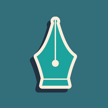 Green Fountain pen nib icon isolated on blue background. Pen tool sign. Long shadow style. Vector Illustration