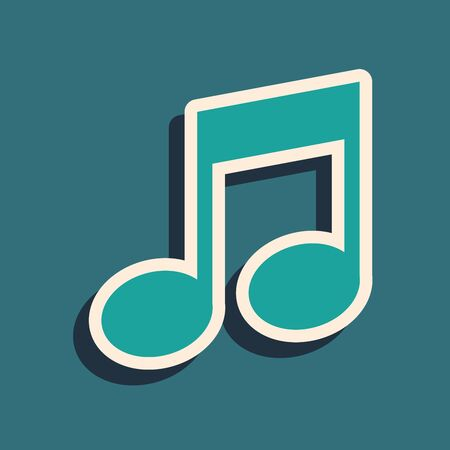Green Music note, tone icon isolated on blue background. Long shadow style. Vector Illustration
