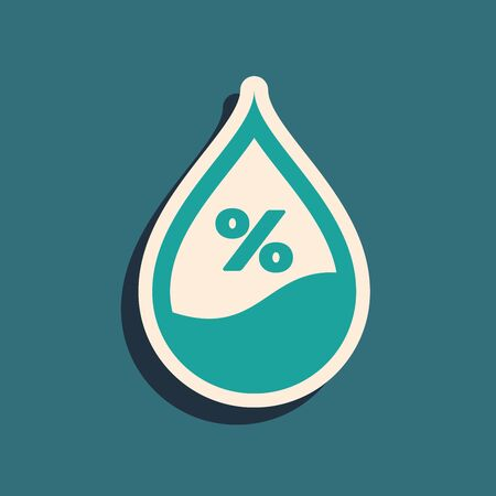 Green Water drop percentage icon isolated on blue background. Humidity analysis. Long shadow style. Vector Illustration